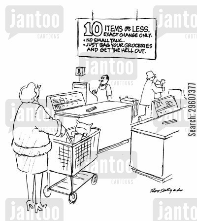 grocery stores cartoon humor: 10 items or less