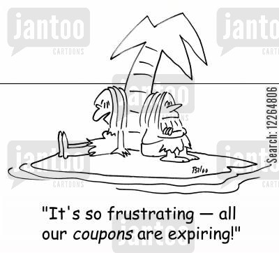 expiry date cartoon humor: 'It's so frustrating -- all our coupons are expiring!'