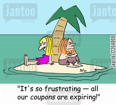 ship wreck cartoon humor: 'It's so frustrating -- all our coupons are expiring!'
