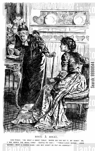 shops cartoon humor: Two Ladies Discussing a Table