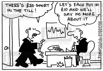 stealing money cartoon humor: 'There's