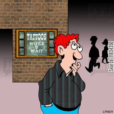 tattooists cartoon humor: Tattoos While U Wait