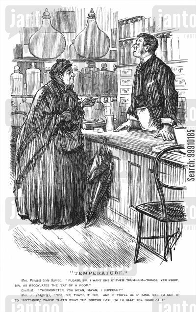 shopkeepers cartoon humor: Woman Buying A Thermometer.