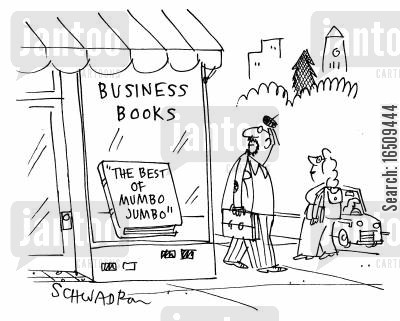 compilation cartoon humor: In shop window: Book titled 'The Best of Mumbo Jumbo'.