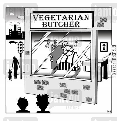 meat cartoon humor: The vegetarian butcher.