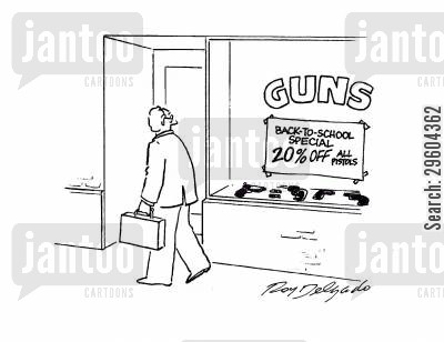 discounting cartoon humor: Guns. Back to school special.