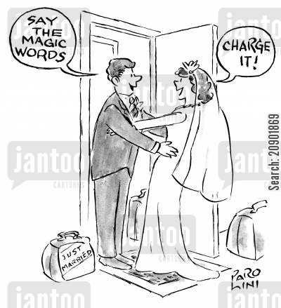 charge card cartoon humor: 'Say the magic words!' 'Charge it!'