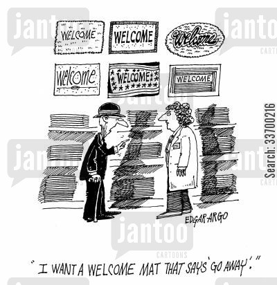 mat shopping cartoon humor: 'I want a welcome mat that says 'Go Away'.'