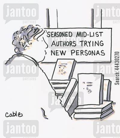 persona cartoon humor: Man looking at book display with sign above it reading: Seasoned Mid-List Authors Trying New Personas.