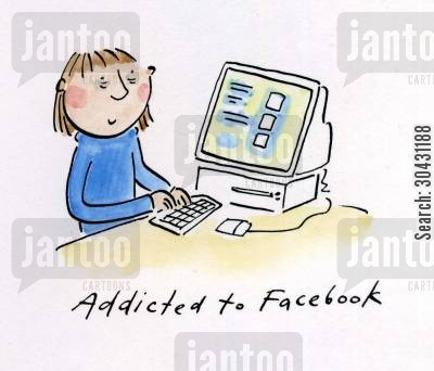 myspace cartoon humor: Addicted to Facebook.