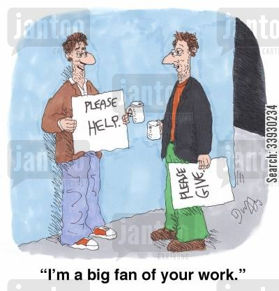 admire cartoon humor: 'I'm a big fan of your work.'