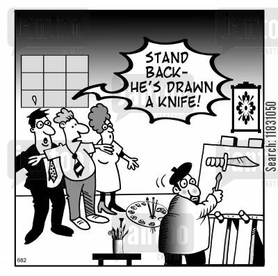 knife crimes cartoon humor: Stand back - he's drawn a knife!