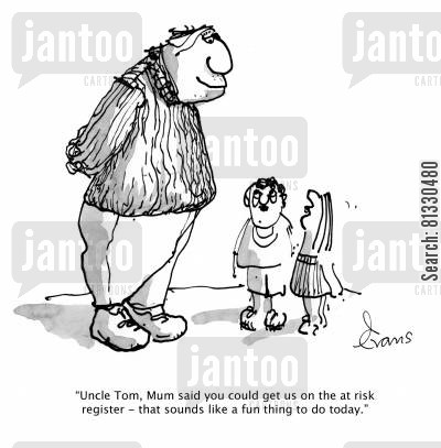 social problems cartoon humor: 'Uncle Tom, Mum said you could get us on the at risk register - that sounds like a fun thing to do today.'