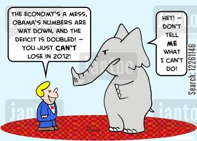 presidential race cartoon humor: 'The economy's a mess, Obama's numbers are way down, and the deficit is doubled! -- you just CAN'T lose in 2012!', 'Hey! -- Don't tell ME what I can't do!'