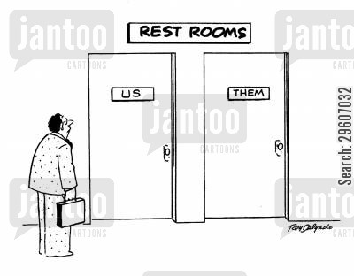 loo cartoon humor: Restrooms - Us and Them.