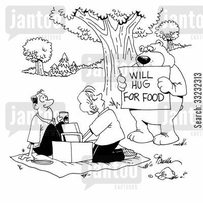 bear hugs cartoon humor: Will Hug For Food.