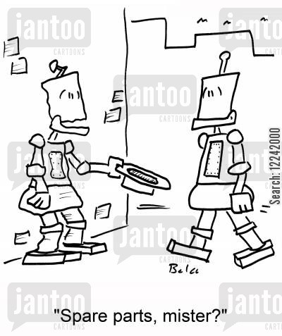 begger cartoon humor: 'Spare parts, mister?'