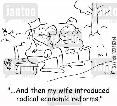 economic reform cartoon humor: '...And then my wife introduced radical economic reforms.'