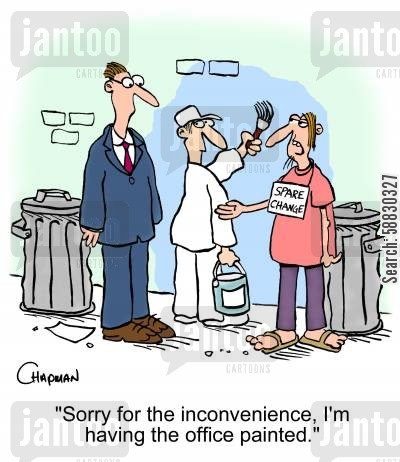 painter and decorator cartoon humor: 'Sorry for the inconvenience, I'm having the office painted.'