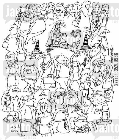 neglect cartoon humor: Homeless man alone in a crowd.