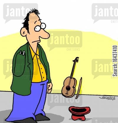 street performer cartoon humor: Fiddler with one arm