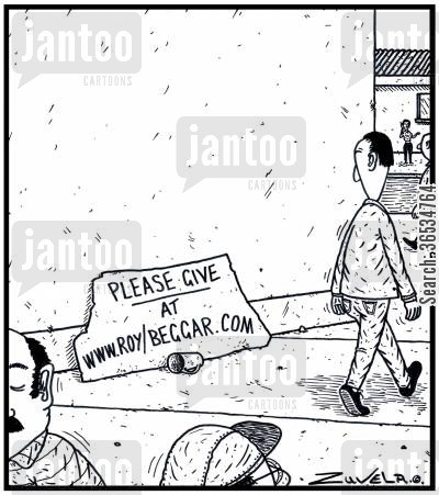 jobless cartoon humor: Please give, at WWW.roybeggar.com