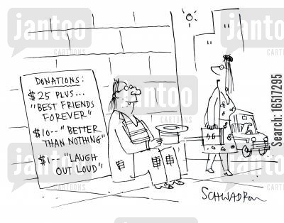 laughed cartoon humor: Donations.