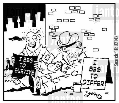 homelessness cartoon humor: 'I beg to survive.' 'I beg to differ.'