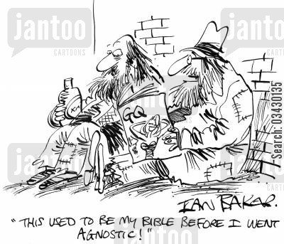 agnostics cartoon humor: 'This used to be my bible before I went agnostic'