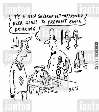 drinking culture cartoon humor: 'It's a new government-approved beer glass to prevent binge drinking.'