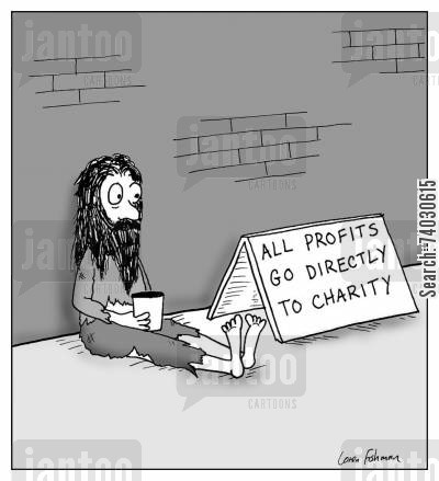 deduction cartoon humor: 'All profits go directly to charity'