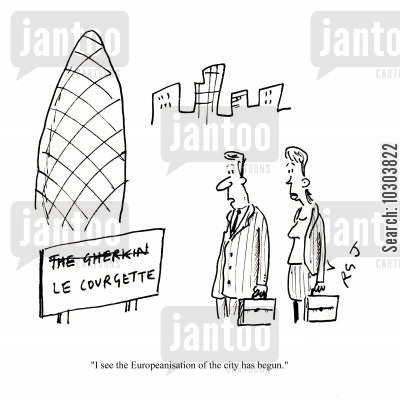 europeanization cartoon humor: 'I see the Europeanisation of the city has begun.'