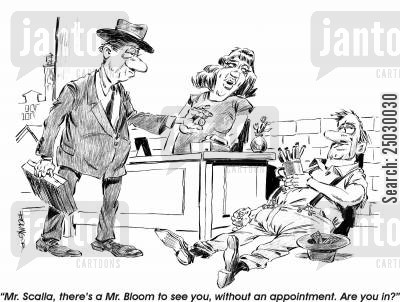 street person cartoon humor: 'There's a Mr. Bloom to see you, without an appointment. Are you in?'