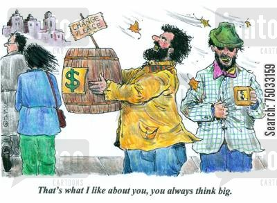 layoffs cartoon humor: 'That's what I like about you, you always think big.'