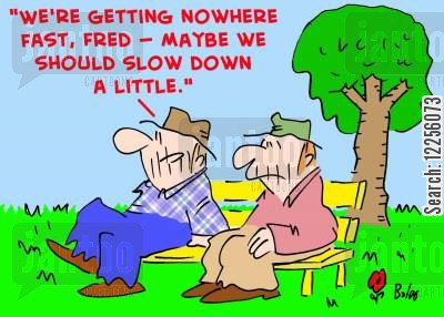 fast paced cartoon humor: 'We're getting nowhere fast, Fred -- maybe we should slow down a little.'