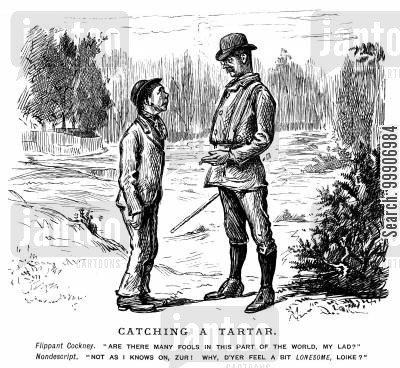 bowler hats cartoon humor: A young man replying cheekily to an older gentleman