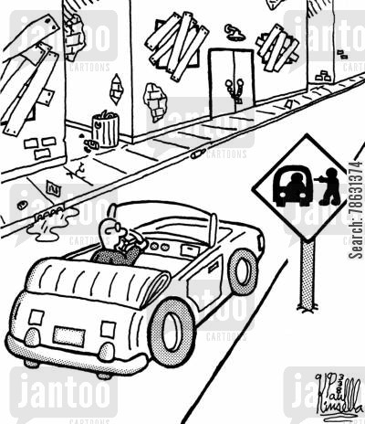 cities cartoon humor: Carjacking warning sign