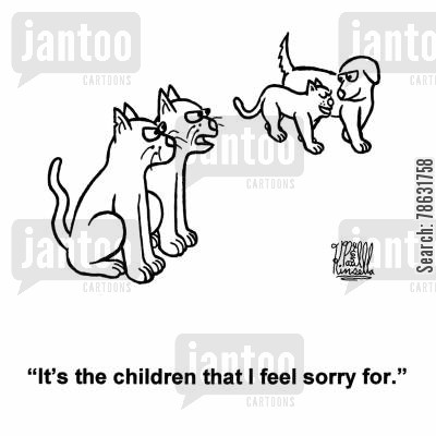 racism cartoon humor: 'It's the children that I feel sorry for.'
