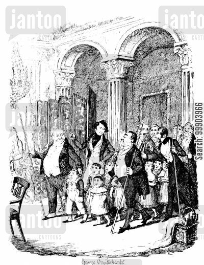 c dickens cartoon humor: Sketches by Boz - Charitable Dinner for Orphans