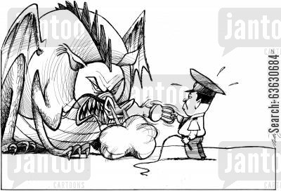 censored cartoon humor: Taming the Chinese dragon.