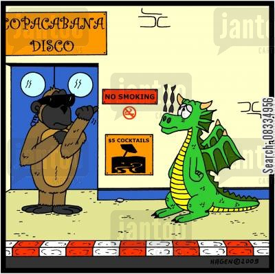 fire breathing dragons cartoon humor: Dragon and no smoking sign.