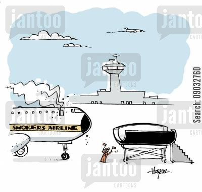 nicotene cartoon humor: Smoker's Airline.