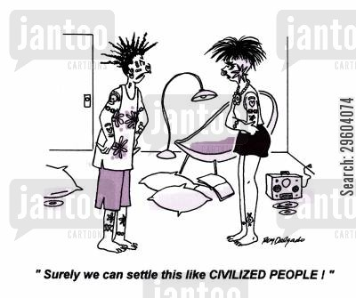 punk cartoon humor: 'Surely we can settle this like Civilized People!'