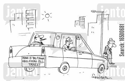 class divison cartoon humor: Limousine sticker reads Honk if you favour abolishing all taxes!