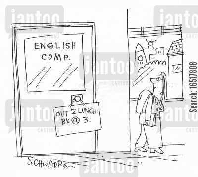 spellers cartoon humor: English competition.