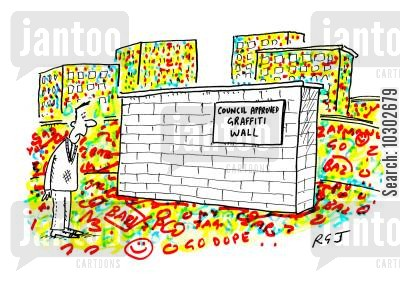 grafitti wall cartoon humor: 'Council approved graffiti wall'