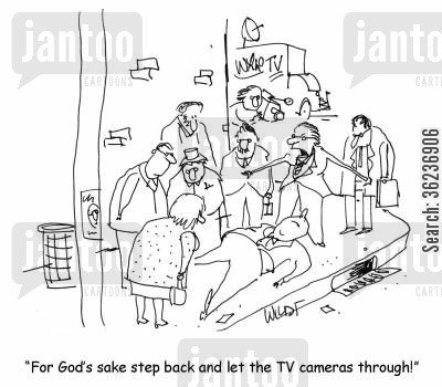 television camera cartoon humor: 'For God's sake step back and let the TV cameras through!'