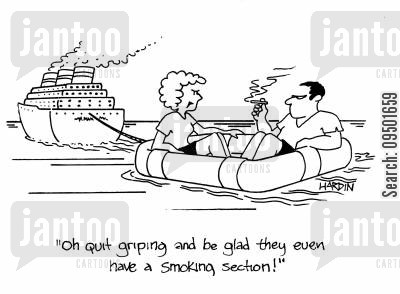 smoking outdoors cartoon humor: 'Oh, quit griping and be glad they even have a smoking section.'
