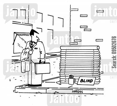 poverty lines cartoon humor: Blind.