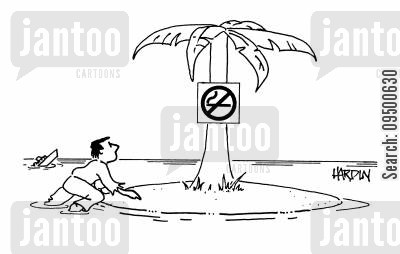 dogooders cartoon humor: Deserted island with a 'No Smoking' sign on it
